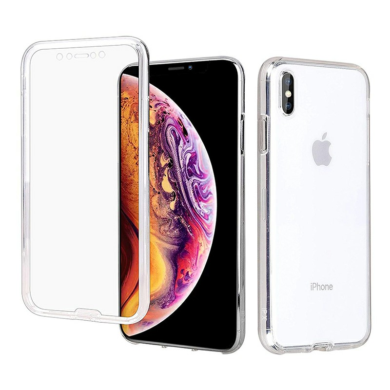 Soft TPU Clear Full Body Slim Phone Case Transparent Back Cover for iPhone X/XS