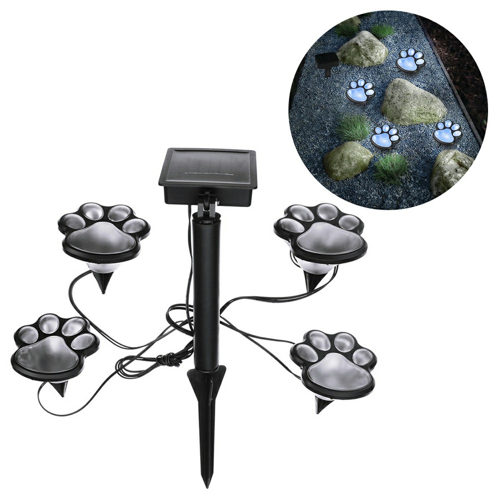 Outdoor LED Solar Powered Bear Paw Animal Prints Lawn Lights Garden Ground Footprint Lamp Path Landscape - White Light