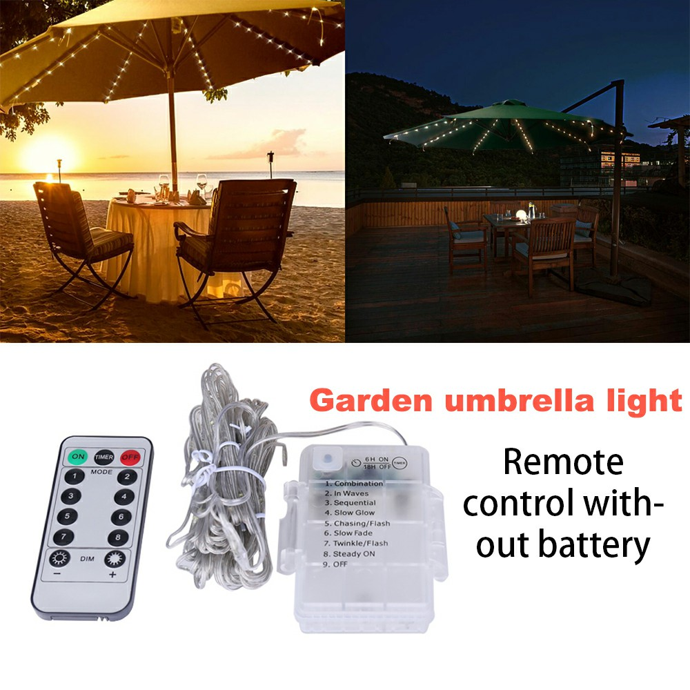Waterproof Battery Powered Garden Parasol Umbrella Chain 104 Led Lights 8 Strings Fairy Lights - White Light