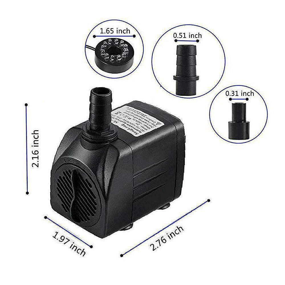 15W Electric Submersible Water Fountain Pump With 12 LED Light Pond Garden Pool UK