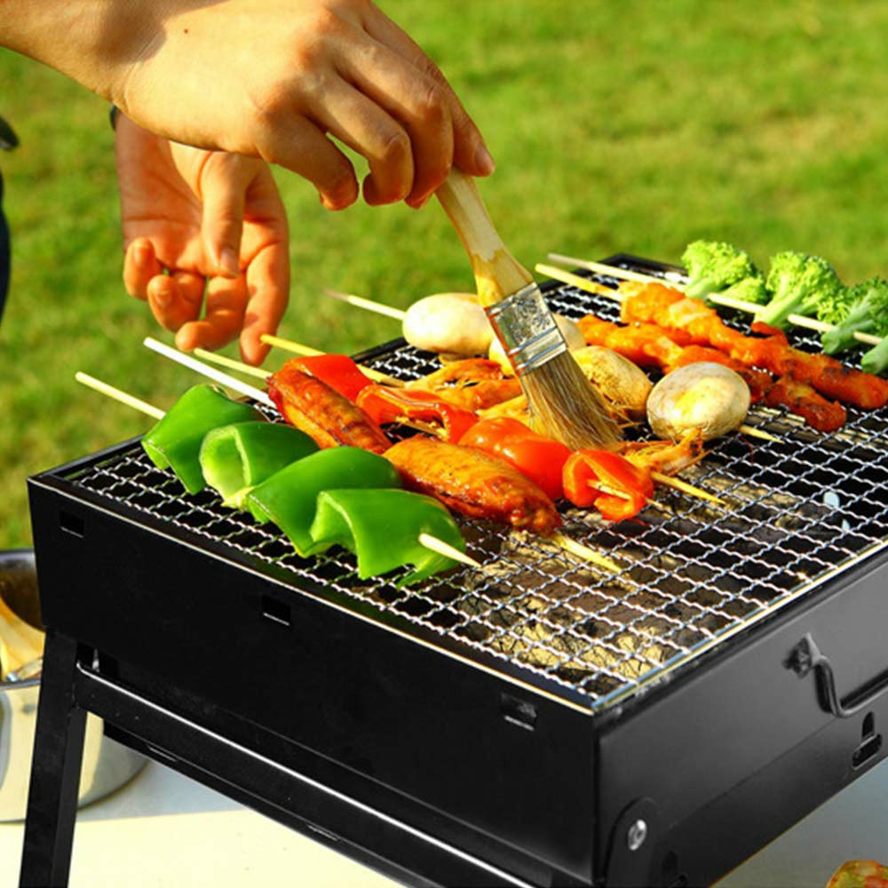 Large BBQ Steel Charcoal Barbecue Grill Collapsible Pullable Portable Outdoor Picnic Cooking Stove - Size S