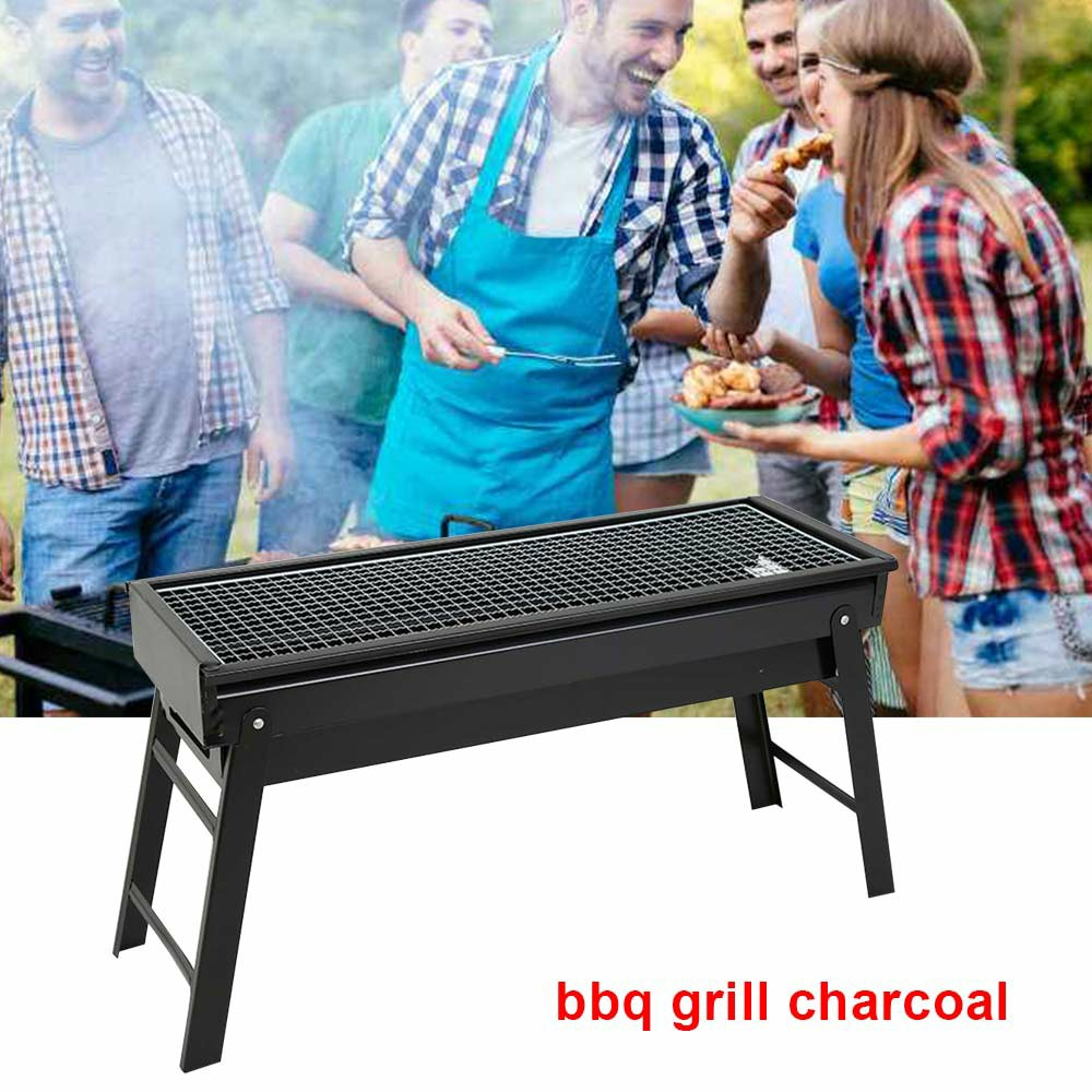 Large BBQ Steel Charcoal Barbecue Grill Collapsible Pullable Portable Outdoor Picnic Cooking Stove - Size L