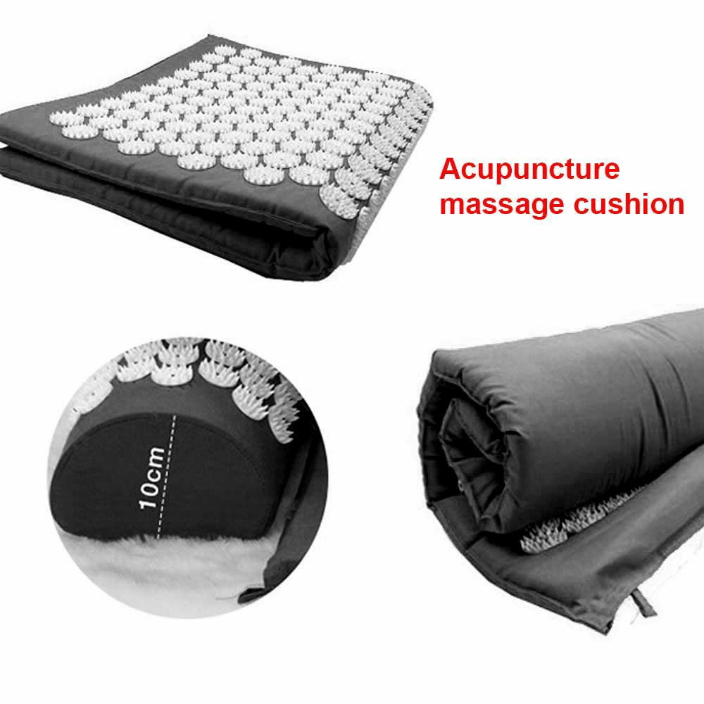 Yoga Cushion Acupressure Massage Mat Pain Relief Therapy Muscle Back Neck with Pillow Travel Bag - Black