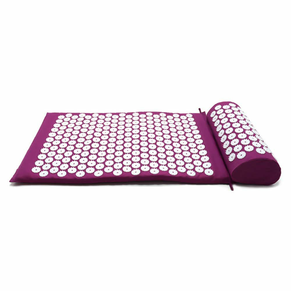 Yoga Cushion Acupressure Massage Mat Pain Relief Therapy Muscle Back Neck with Pillow Travel Bag - Purple