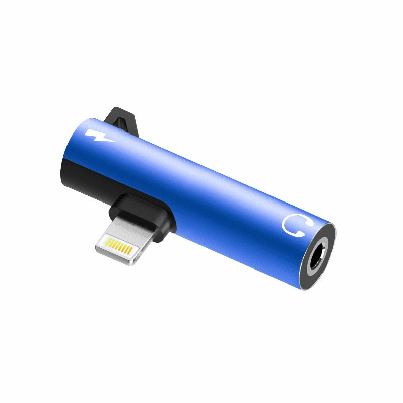 2 in 1 Audio Headphone Charging Dual Adapter Splitter 3.5mm Jack to Earphone AUX Connector for iPhone - Blue