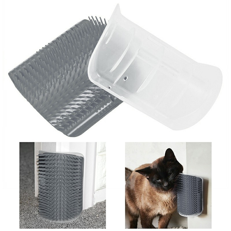 Pet Cat Dog Wall Corner Massage Self Groomer Rubber Comb Toy Brush Cleaner - Grey