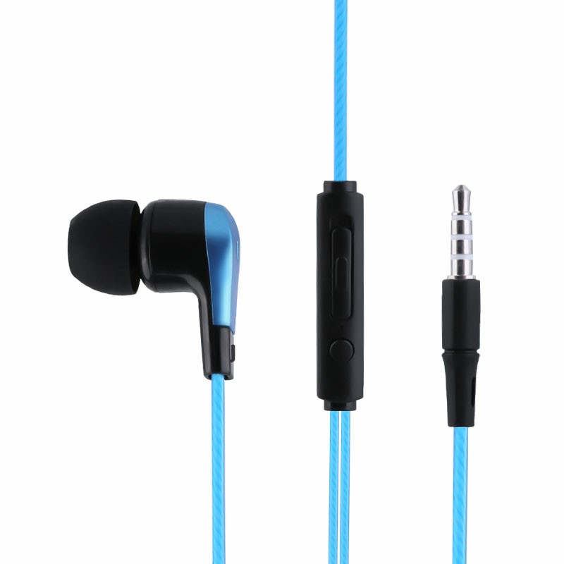 EM-12 Soft Comfortable Wired 3.5mm Music Headphones In-ear Audio Earphones with Microphone - Blue