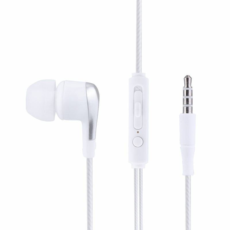 EM-12 Soft Comfortable Wired 3.5mm Music Headphones In-ear Audio Earphones with Microphone - White