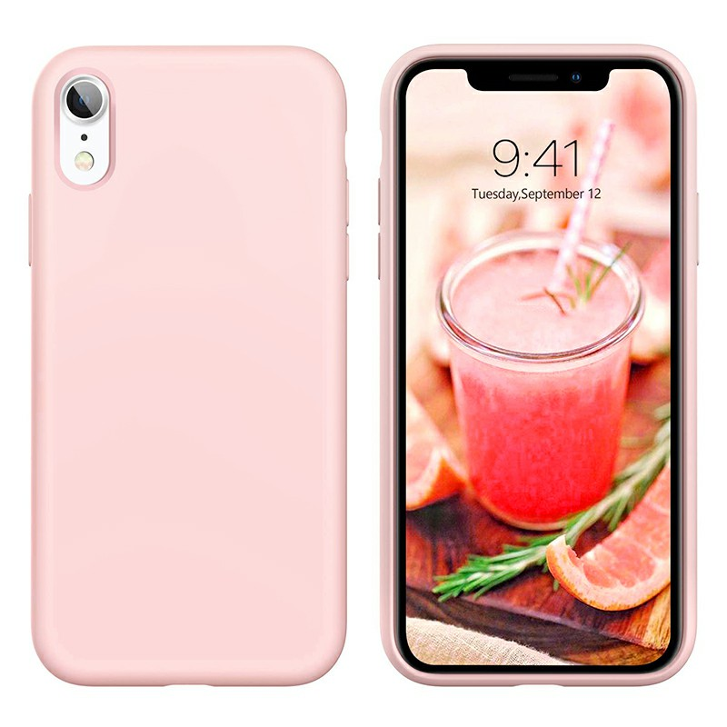 Soft Protective Phone Case Ultra Thin TPU Liquid Silicone Cover Shockproof Case for iPhone XR - Pink