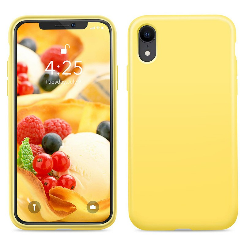 Soft Protective Phone Case Ultra Thin TPU Liquid Silicone Cover Shockproof Case for iPhone XR - Yellow