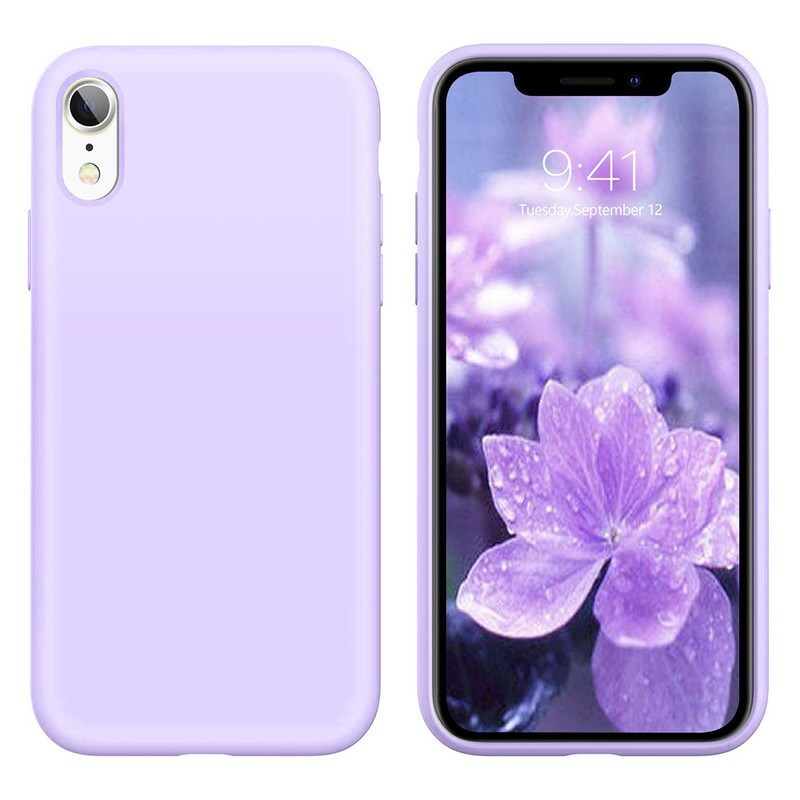 Soft Protective Phone Case Ultra Thin TPU Liquid Silicone Cover Shockproof Case for iPhone XR - Purple