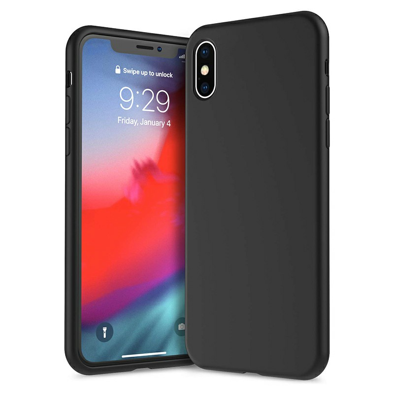 Ultra Thin Phone Case Slim TPU Liquid Silicone Protective Cover Case for iPhone X/XS - Black