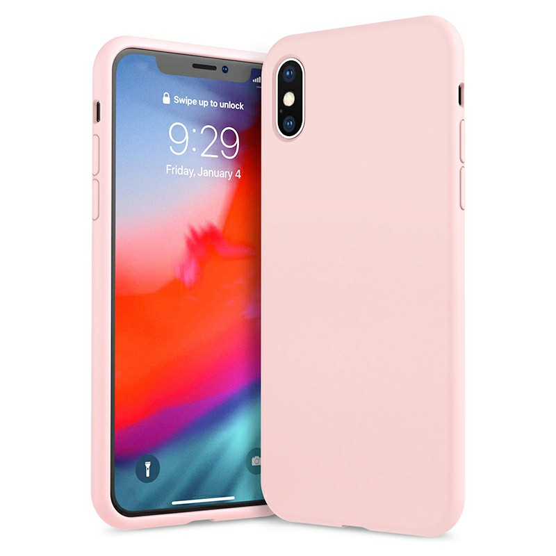Ultra Thin Phone Case Slim TPU Liquid Silicone Protective Cover Case for iPhone X/XS - Pink