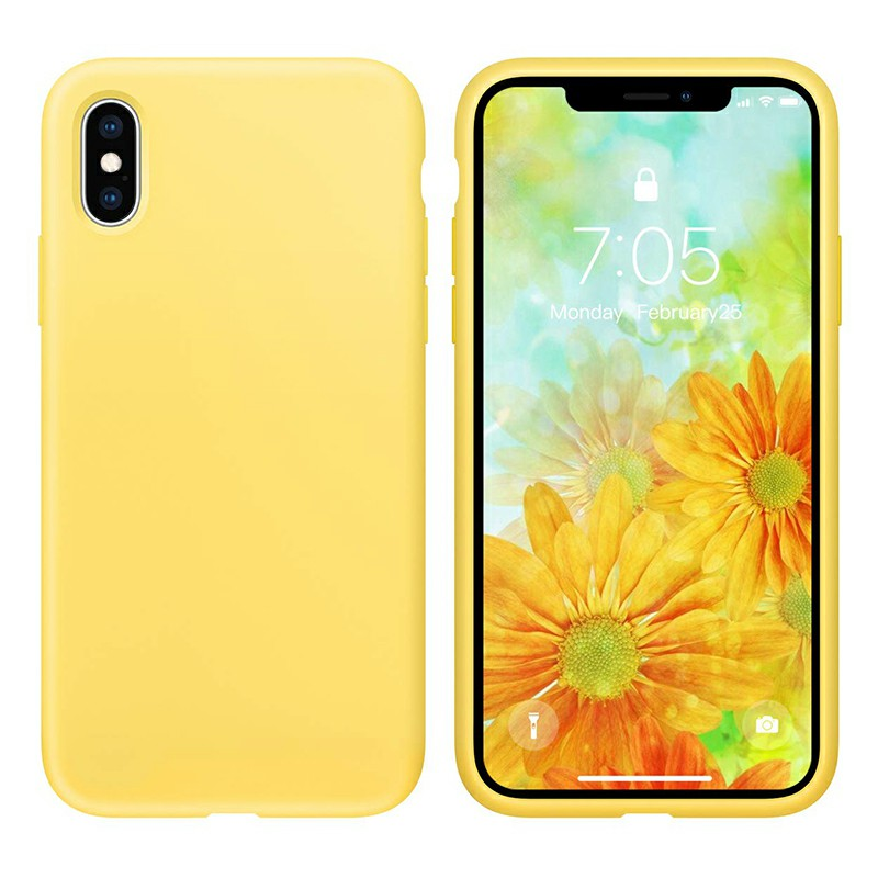 Ultra Thin Phone Case Slim TPU Liquid Silicone Protective Cover Case for iPhone X/XS - Yellow