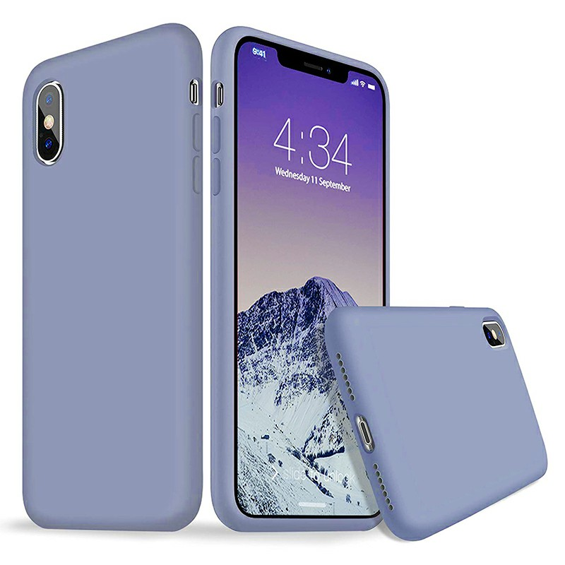 Ultra Thin Phone Case Slim TPU Liquid Silicone Protective Cover Case for iPhone X/XS - Grey
