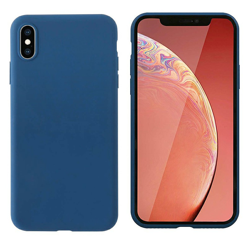 Ultra Thin Phone Case Slim TPU Liquid Silicone Protective Cover Case for iPhone X/XS - Blue