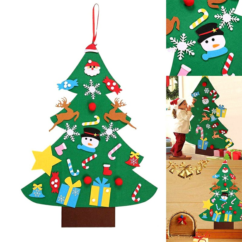 Children Kids DIY Christmas Tree Xmas Felt Decoration New Year Xmas Decoration Three-dimensional Ornamental Tree