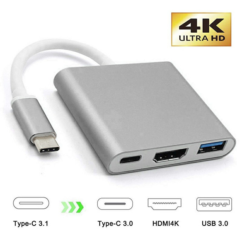 3 in 1 HD Adapter USB 3.1 Type-C to HDMI Converter 4K and Type-C Female and USB 3.0 Multiport Adapter - Grey