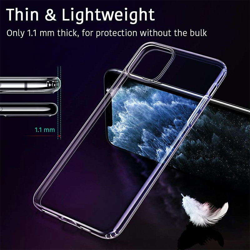 Transparent Bumper Phone Case Shockproof Silicone Case Soft TPU Protective Case Scratch Resistant for iPhone 11 Pro