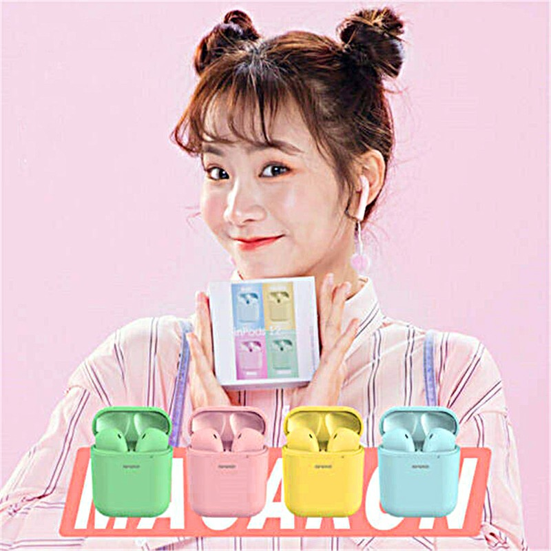 Macarons Pods TWS Wireless Bluetooth Headphone HiFi Headsets Super Bass Sound Earbuds with Mic for iOS Android - Green