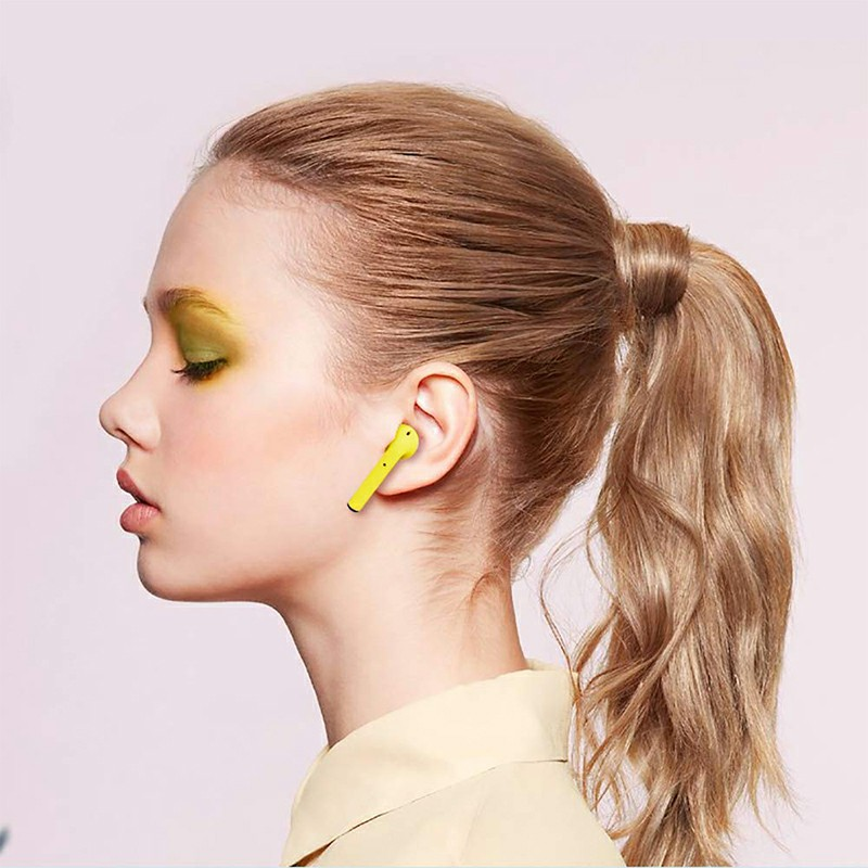 InPods12 TWS Wireless Bluetooth Headphone HiFi Headsets Super Bass Sound Earbuds with Mic for iOS Android - Yellow