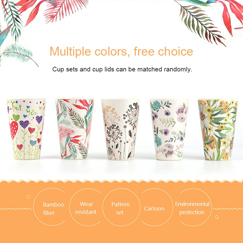 Reusable Coffee Mugs Bamboo Fiber Water Cup with Silicone Cover and Sleeve Eco-friendly Takeaway Travel Cup 400ml - Pink