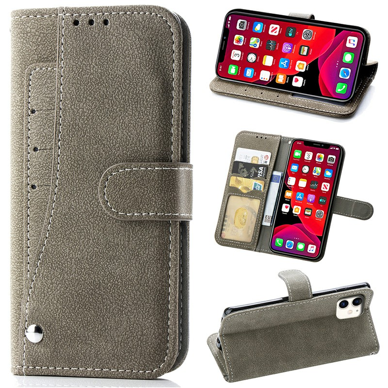 Rotary Card Slots Flip Phone Case with Card Pocket Leather Phone Bags Wallet Cover for iPhone 11 - Grey