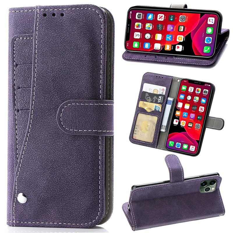 Matte TPU Soft Wallet Card Case Cover Phone Protective Shell for iPhone 11 Pro Max - Purple
