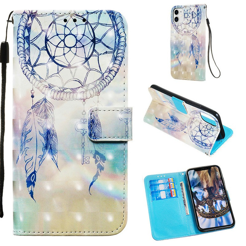 Wallet Credit Card Pocket 3D Printed Back Cover Protective Phone Bag with Card Slot Flip Cover for iPhone 11 - Fantasy Wind Chimes
