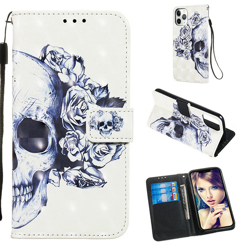 3D Painted Pattern PU Leather Wallet Cover Credit Card Magnetic Flip Case For iPhone 11 Pro Max - Taro Flower