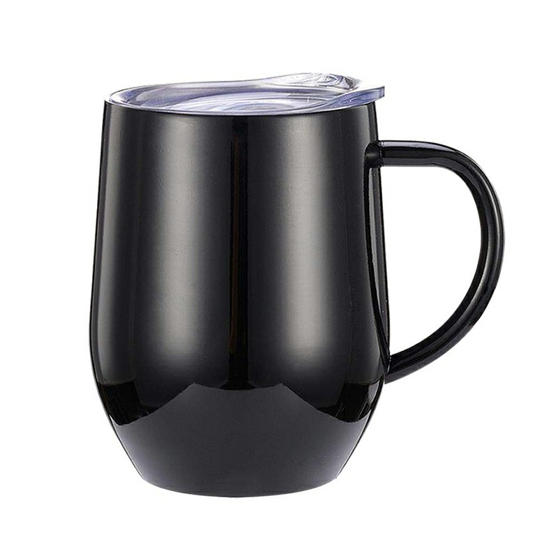 12oz Double Layer Vacuum Stainless Steel Egg Shaped Coffee Cup U Shaped Red Wine Mug with Handle - Black