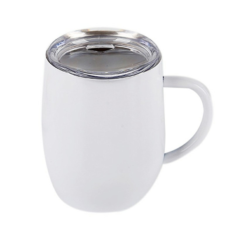 12oz Double Layer Vacuum Stainless Steel Egg Shaped Coffee Cup U Shaped Red Wine Mug with Handle - White