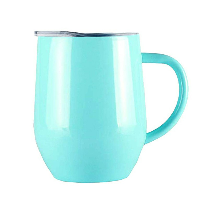 12oz Double Layer Vacuum Stainless Steel Egg Shaped Coffee Cup U Shaped Red Wine Mug with Handle - Light Blue
