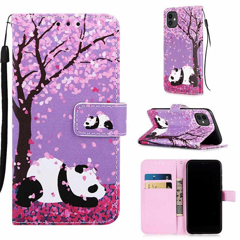 PU Leather Wallet Credit Card Case Magnetic Flip Stand Case Painted Rotary Cover for iPhone 11 - Panda Cherry Blossom