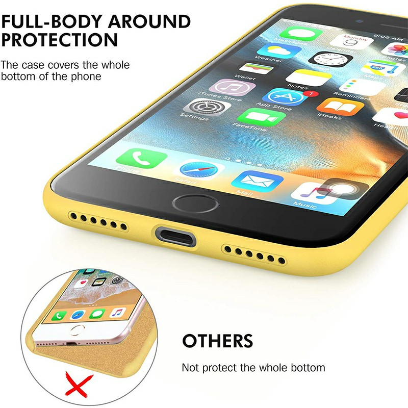 Anti Fingerprint Scratch Resistant Back Cover Soft Silicone Shockproof Cover Smooth Case for iPhone 7/8 - Yellow