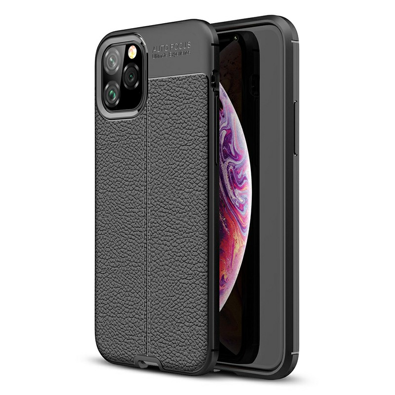 Ultra Slim Back Case Silicone Protective Cover Grainy Soft Phone Case TPU Bumper Case for iPhone 11 Pro - Black