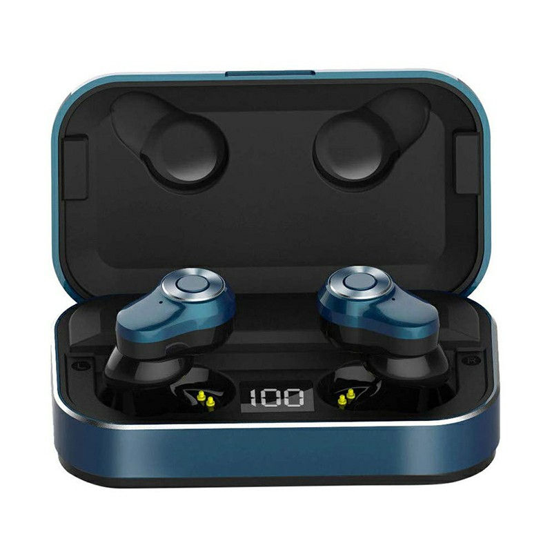 A6L TWS Wireless BT 5.0 Earphone Stereo Sport Earbuds Sweatproof Headset with Charging Box Built-in Microphone - Blue