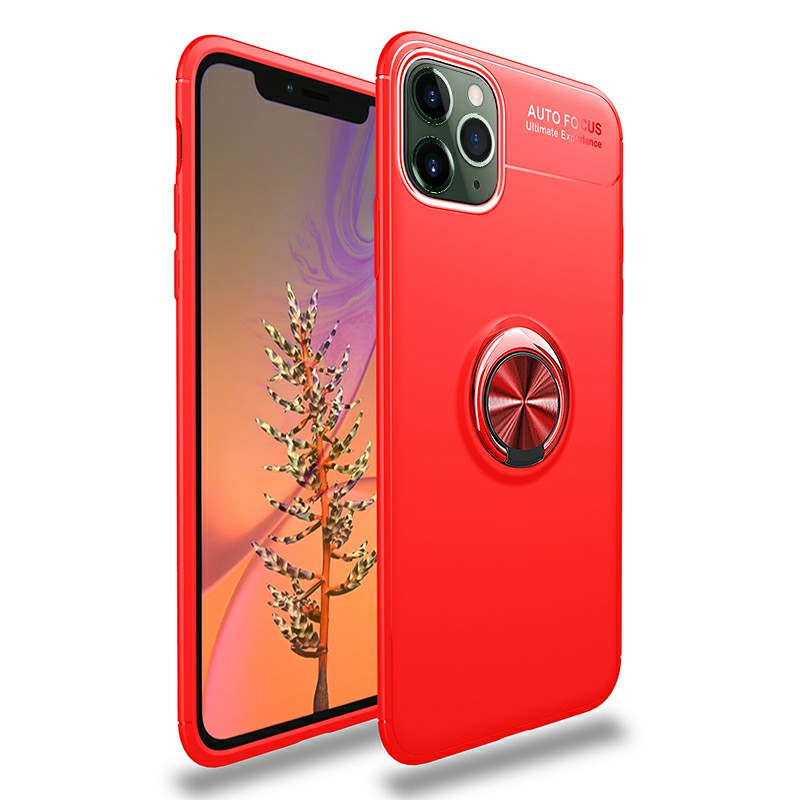 Smooth Grip Magnetic Ring Holder Shockproof Case TPU Bumper Cover with for iPhone 11 Pro - Red
