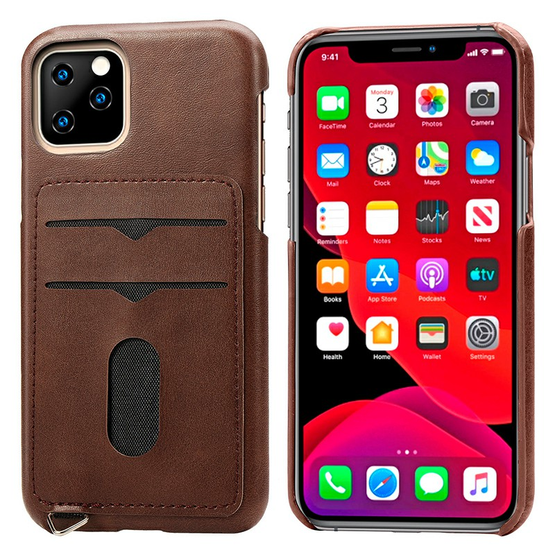 Leather Phone Case with Card Slot Shockproof Back Cover Protective Cellphone Case for iPhone 11 Pro Max - Brown