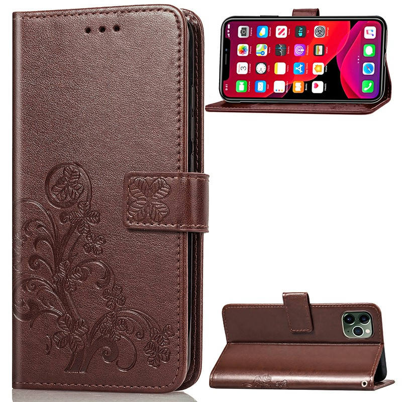 Four Leaf Clover Embossing Case Flip Stand Holder Wallet Card Case PU Leather for iPhone 11 Pro - Brown