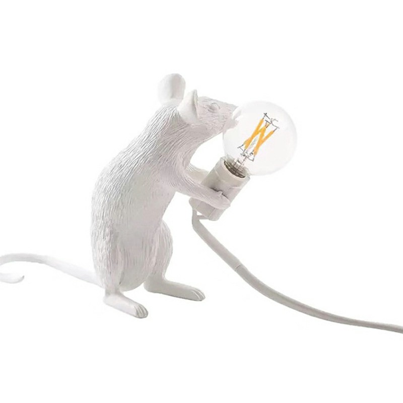 Mini Animal Mouse Table Lamp Desk Light Bedside Resin Lamps White Lights Sitting UK - Sitting Mouse