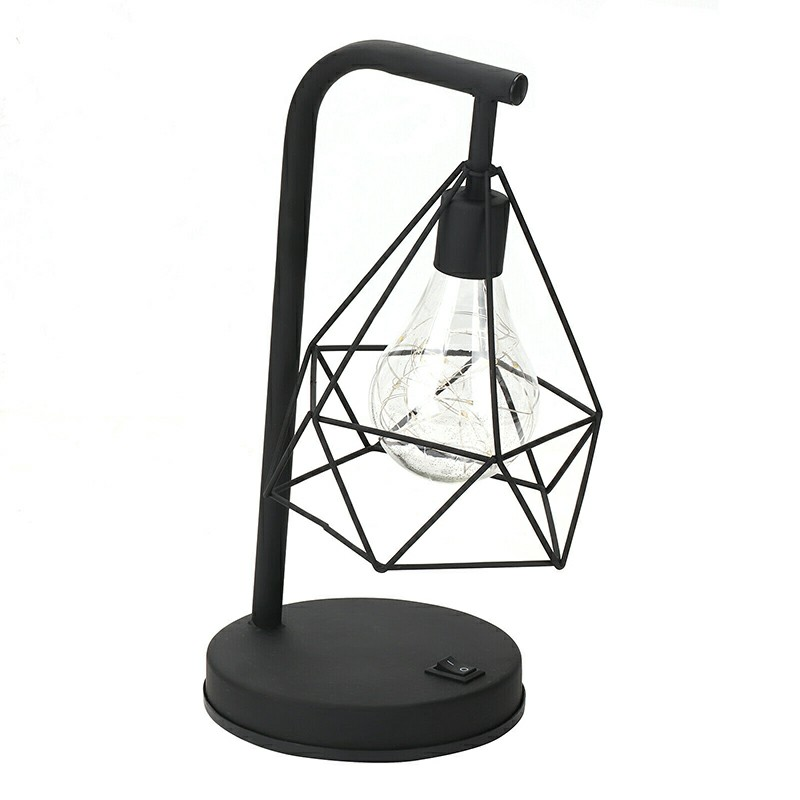 Retro Black Geometric Wire Industrial LED Light Bulb Bed Side Battery Table Lamp Art Decor - Warm Light