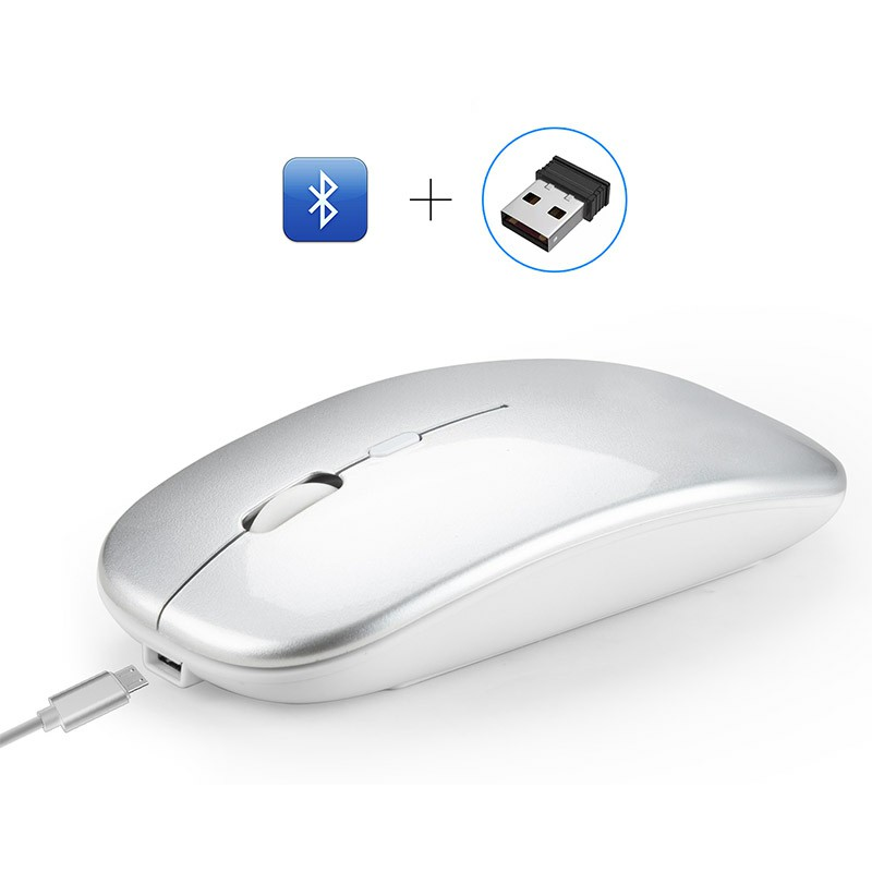 M90 Bluetooth Dual Mode 5.0 + 2.4 G Wireless 4 Keys 1600 DPI Adjustable Ergonomics Optical Vertical Mouse - Silver