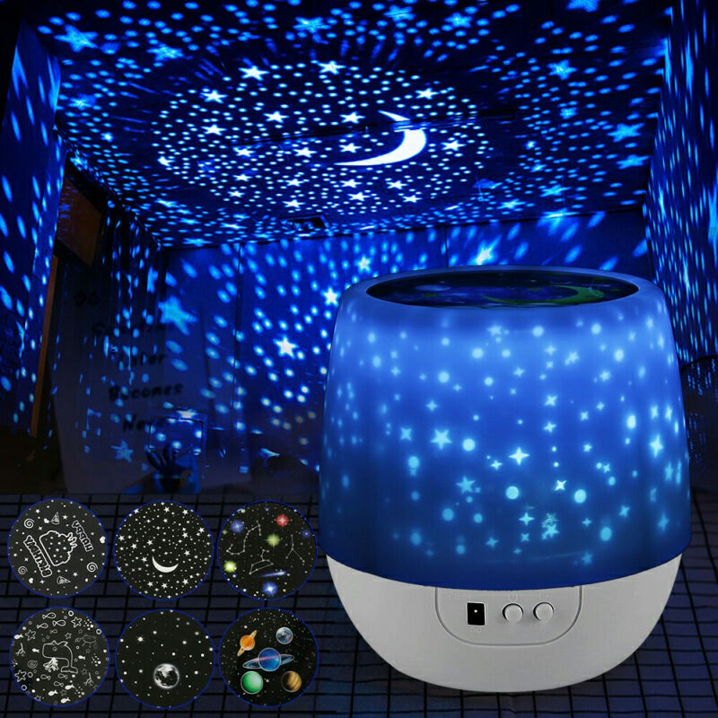 Rotating LED Light Projector Star Moon Sky Baby Kids Night Mood Lamp Magic Changeable Lamp Gift for Friend Kids