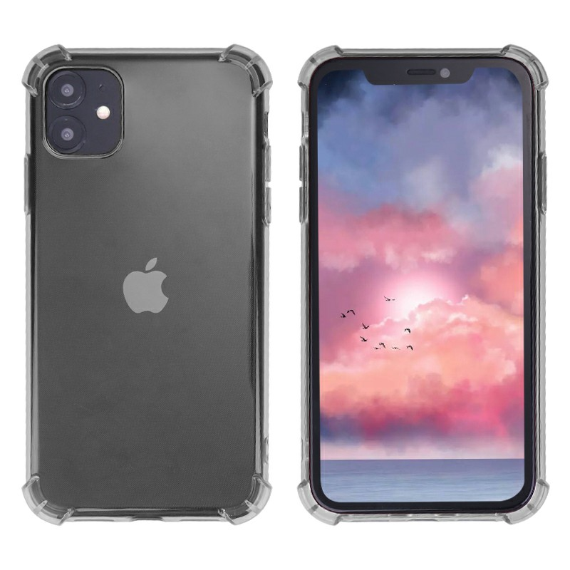 Clear Transparent TPU Soft Skin Silicone Protective Phone Case Scratch Resistant Back Case for iPhone 11 - Black