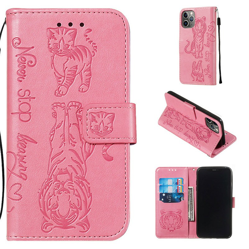 Cat and Tiger Pattern PU Leather Wallet Credit Card Slot Magnetic Flip Stand Case Mobile Phone Bag for iPhone 11 Pro Max - Pink