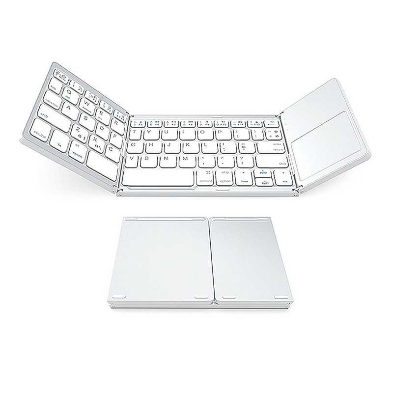 Multi Device Universal Wireless Bluetooth Keyboard Foldable Keyboard with Touch Pad for iOS Android Windows iPhone iPad Tablet MAC - White