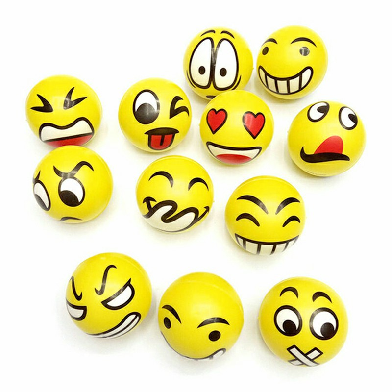 12pcs Anti Stress Reliever Face Ball Foam Sponge Autism Mood Toy Emoji Balls Squeeze Relief Toy