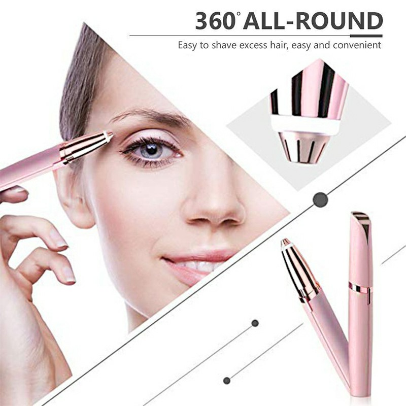Mini Lipstick Shape Electric Eyebrow Trimmer Shaver Face Brows Hair Remover Painless Eye Brow Epilator Pen - Pink