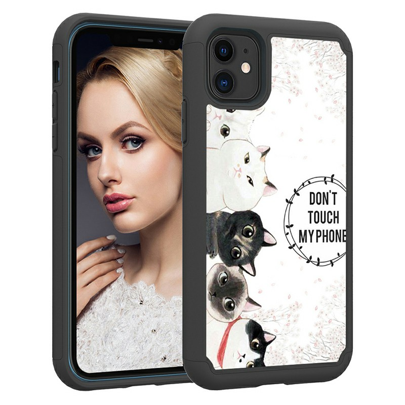 Animal Painted Fabric Shockproof Slim Hard PC Back Case Soft PU Bumper Back Phone Cover for iPhone 11 - 5 Kittens